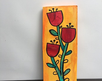 Red Flowers - Original Mixed Media Collage Painting, floral Art, still life, flower art, wall art decor, green and orange - Claudine Intner