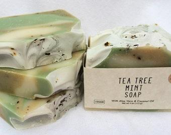 Tea Tree Mint Soap, Handmade Soap, Natural Soap, Fresh Summer Soap, Creamy Lather, Herbal, Plant Based, Aloe Vera Soap, Athens, GA Made