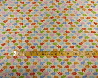 Baby elephants fabric by half yard, beige fabric, cream printed quilting cotton, kids quilting fabric, elephant sewing fabric