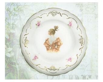 Portrait Plate - Bavaria Portrait plate - decorative plate - soap dish - Shabby Chic decor - collectible plate -  # 35