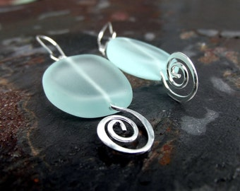 Silver Swirl Earrings:  Aqua Sea Glass Earrings, Geometric  Freeform Earrings, Seafoam Green Nautical Modern Beach Jewelry