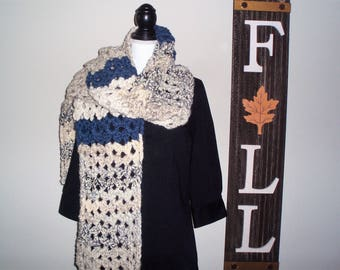 Super Long Scarf, Crocheted Winter Scarf, Bulky Long Scarf, Long Blue and Beige Scarf, Handmade Scarf