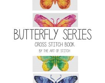 Butterfly Cross Stitch Kit, Butterfly Series Cross Stitch Set, Embroidery Kit, Set of Four Butterflies (BOOK05)
