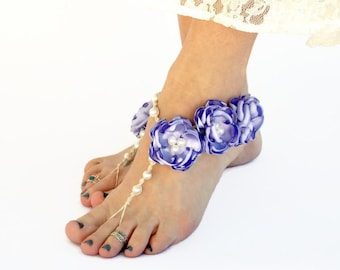 Floral Barefoot Sandals, Wedding Shoes, Handmade Satin Flowers, Hemp Foot Jewelry, Beach Bride Barefoot Jewelry, Foot Accessory Color Choice
