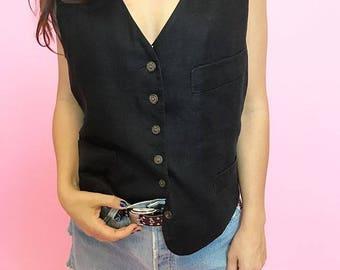 Black linen vest M