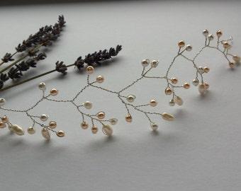Bridal hair vine, ivory and vintage rose pearl headpiece, pearl hair vine