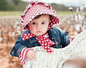 Red Polka Dot Ruffled Bonnet