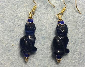 Dark blue fiber optic cats eye cat bead earrings adorned with dark blue Chinese crystal beads.