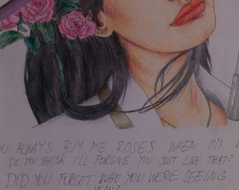 Drawing of Lana Del Rey - Roses