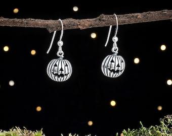 Sterling Silver Jack-O-Lantern Pumpkin Earrings - Halloween Jewelry