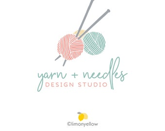 Yarn Logo - Knitting Logo - Crochet Logo - Knitting Needles Logo -Logo Small Business Logo Branding