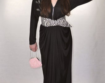 Vintage 1970's Embellished Black Maxi Dress UK 10 (M)