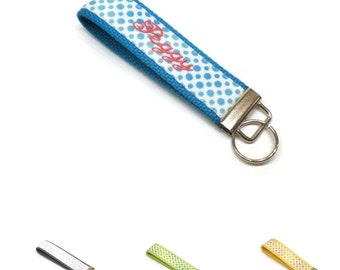 Ombre dots personalized key fob, monogrammed key chain wristlet, fabric wrist keychain, keys wristlet : Choose your colors.