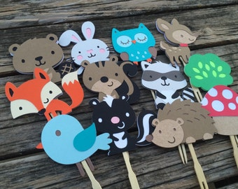 Woodland Cupcake Toppers - Woodland Party, Cupcake Toppers, Baby Shower, Birthday Party, Fox Party, Cake Topper, Party Decorations