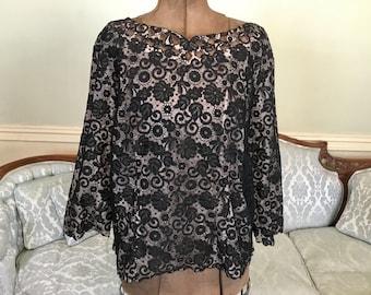 1950s Black Lace Blouse / Black Blouse / Vintage Blouse / Vintage Lace Blouse