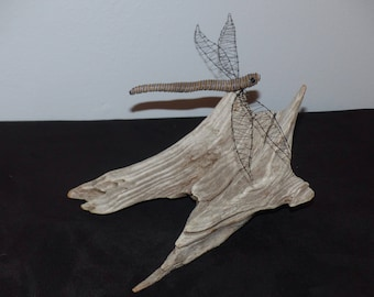 Black and Blue Wire and Driftwood Dragonfly on Sun-bleached Freshwater Driftwood Base