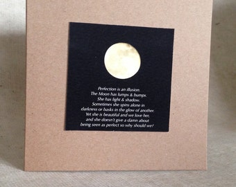 Moon note card, perfection is an illusion quote, uplifting words, golden moon gift card, square kraft photo card, positive quotation