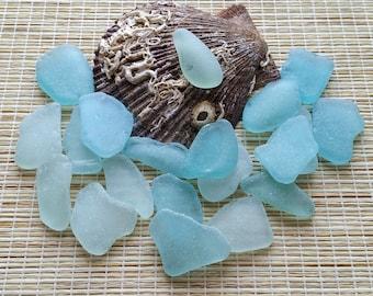 "20 Authentic Sea glass Bulk nautical glass Aqua blue sea glass Seafoam sea glass 1.2-1.4"" Beach glass For beach decor, sea glass art #499#"