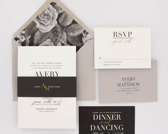 Floral Wedding Invitations, Modern Wedding Invitation, Elegant Wedding, Classic Wedding Invitation Suite - Avery   Deposit