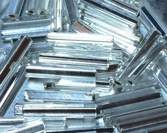 12mm Bugle Beads - Silver Lined Crystal 20 grams