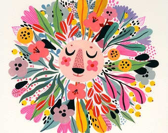 Spring Lion... - limited edition giclee print of an original painting (8 x 8 in)