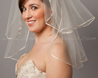 Illusion Tulle Bridal Veil - Short Double Layer Ribbon Edge - White, Ivory, Champagne and Black