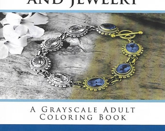 Digital Download | Grayscale Gems and Jewelry coloring book |  Adult Coloring pages