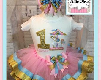 Carousel tutu, carousel dress, carousel birthday tutu, carousel party, carousel embroidered shirt, carousel embroidery