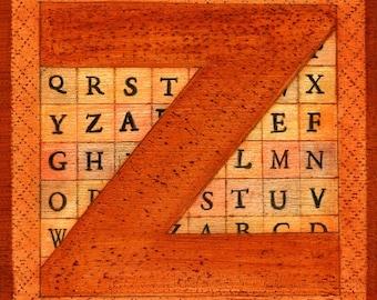 The Letter Z, hand-signed print of original artwork