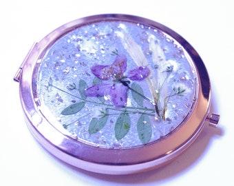 Rose Gold Pressed Flower Pocket Mirror