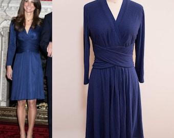 Kate Middleton Engagement Dress/ Blue Wrap Dress/ Duchess of Cambridge Dress/ Wrap Dress/ Jersey Knit Dress/ custom dress/ Premium jersey