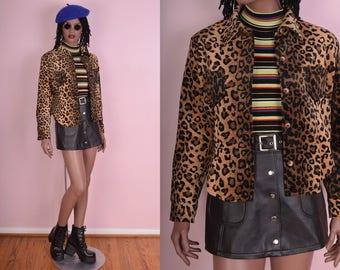 90s Fuzzy Leopard Print Button Down Shirt/ Medium/ 1990s