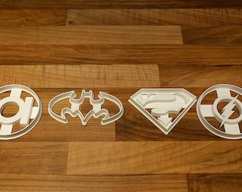 Batman Cookie Cutter, Superman Cookie Cutter, Flash andGreen Lantern Cookie Cutter Set