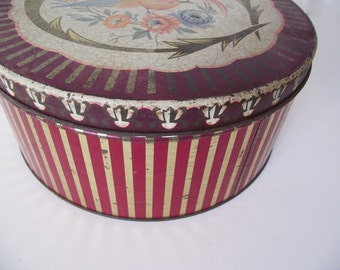 Antique Tin - Bird of Paradise Striped Cake Tin - Medium Size - Cranberry Red