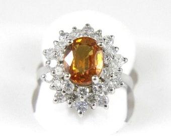 Fine Orange Mandarin Garnet Gemstone Ring w/Crown Diamond Halo 14k White Gold 4.60Ct