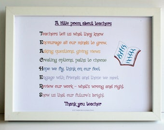 Teacher gift, A little poem about teachers, teacher gift, acrostic poem for  teacher