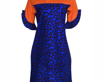 Ankara Shift Dress - A Shift dress with details on the sleeves and a classy cut at the back
