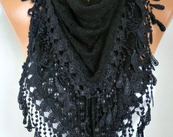 Valentine's Gift,Black Knitted Lace Scarf,Winter Scarf,Wedding Shawl,Bridal Scarf,Bridesmaid Gift Ideas For Her,Women Fashion Accessories