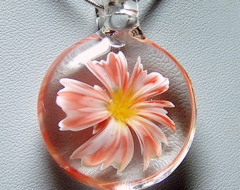 Realistic peach orange and white glass 3D flower pendant - handmade lampwork glass pendant