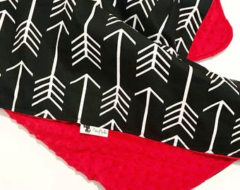 Baby Travel Changing Pad. Roll Up Changing Pad.  Baby Boy Baby Girl. Arrow Black Red. Baby Shower Gift.  Baby Minky. BizyBelle