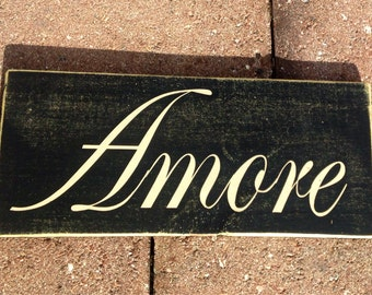 12x6 AMORE (Choose Color) Italian Love Rustic Shabby Chic Sign