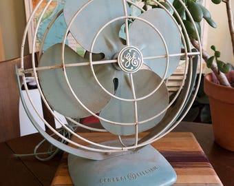 Vintage Turquoise Aqua General Electric House Fan  - Approx 13 In Tall - Needs to be Rewired