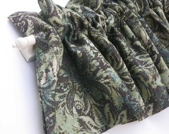BERMEJO Valance Curtains Green Brown Foliage Leaves 56 inches wide Dark Brown Brownish Tan leaves damask leaves linen burlap fabric