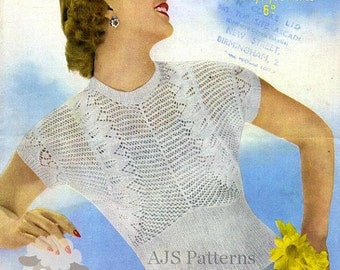 PDF Knitting Pattern for a Lacy Knit 1950's Summer Top - Chic and Feminine - Instant Download