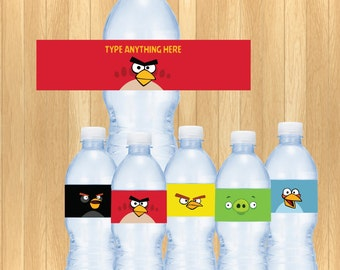 INSTANT DOWNLOAD - EDITABLE Angry Bird Water Bottle Label
