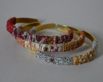 Textile bracelets / Bangle /Textile jewellery / Boho textile bangles / Unique boho chic bangle bracelets