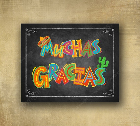 Muchas Gracias Sign, Printed thank you sign, fiesta signage, wedding sign, graduation sign, Birthday sign, retirement sign, cinco de mayo