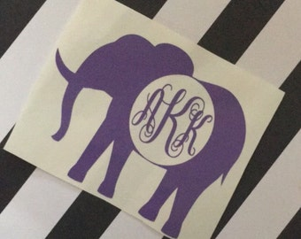 elephant monogram sticker decal