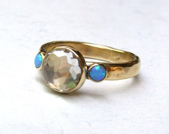 Unique Engagement Ring, Solitaire Rings, Multistone Rings,Blue Opal Ring, 14k gold ring , Wedding Ring,Anniversary Ring,Hammerd gold