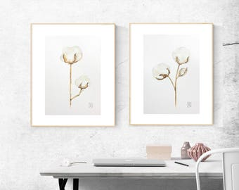Superb Laundry Room Decor Watercolor, Set Of 2 Cotton Flowers Abstract Brown Beige  Home Decor,